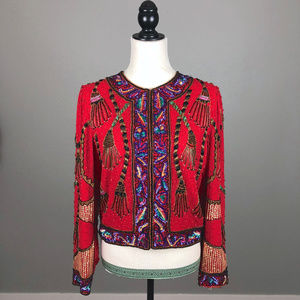 Vintage Laurence Kazar Silk Beaded Jacket